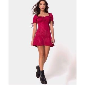 New Motel Rocks Guenelle Satin Cherry Dress
